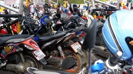 rider : Motorbike on the Parking in Thailand near the Shopping Center Stock Footage