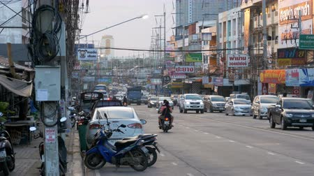 emissions : Asia Road Traffic in Busy Pattaya Street, Thailand