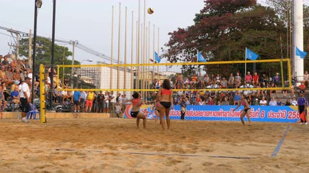 volleyball players : Womens Beach Volleyball Championship in Thailand Stock Footage