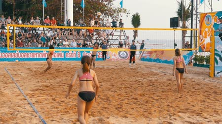 professionally : Womens Beach Volleyball Championship in Thailand. Slow Motion Stock Footage