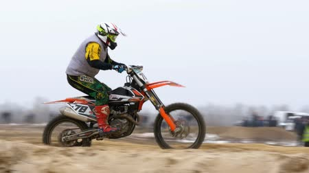 enduro : Motocross. Off-road racing on enduro bikes. Slow motion