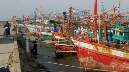 mais : Many different old wooden fishing boats at the pier. Thailand. Asia. Pattaya Stock Footage