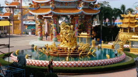 estuque : The architecture of the Chinese Temple Bangsaen in Thailand.