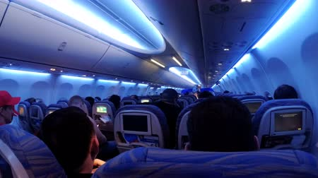 attendant : The passenger cabin with people of the airplane during the flight at night. Stock Footage