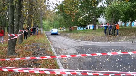 adrenalin : Championship in Rally. Rally Racing on sports cars on the asphalt road in the city Dostupné videozáznamy