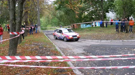 buggy car : Championship in Rally. Rally Racing on sports cars on the asphalt road in the city Stock Footage