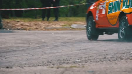 tuning : Championship in Rally. Rally Racing on sports cars on the asphalt road in the city Stock Footage