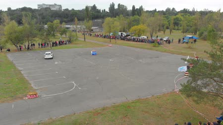 beczka : Top view of a Rally Car Performing Drift on the Asphalt