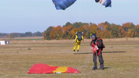 padák : Skydiver flying with a parachute and landed on the ground Dostupné videozáznamy