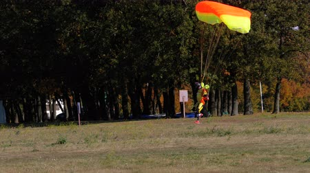 svetr : Skydiver flying with a parachute and landed on the ground Dostupné videozáznamy