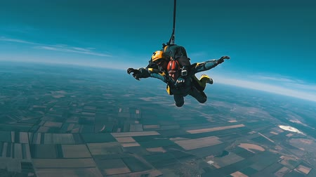 Tandem Skydiving. Tandem Jump. Parachutists in Long Free Fall