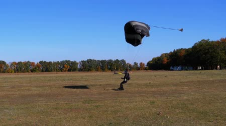 Parachutist flying with a parachute and landed on the ground. Slow Motion Stock mozgókép