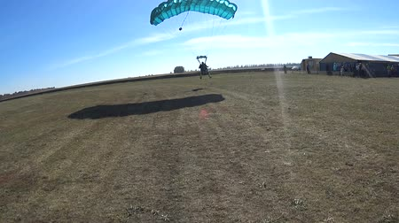 Skydivers flying in tandem with a parachute and landing on the field Stock mozgókép