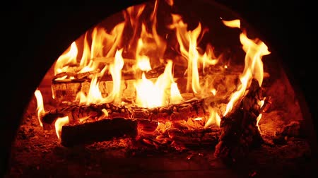 Fire burning in fireplace Stok Video