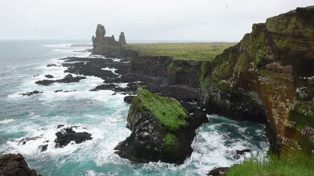 Londrangar Cliffs in Iceland. Wideo