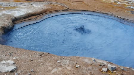 kükürt : Boiling mud at geyser in Hverir, Iceland