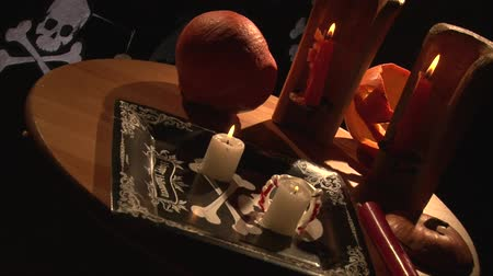 frightful : Halloween vampire dinner table with burning candles
