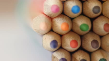 Colorfull Colored Pencils Stock Footage. Focus point mooving. Stock Footage