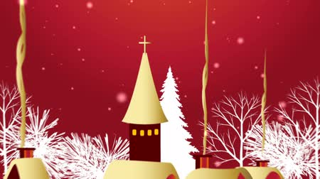 A snowy Christmas HD background animation with a small town and wreath of golden holly and berries.    Wideo