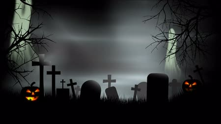 temető : Halloween Graveyard Background Loop with ghosts