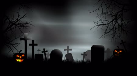temető : Halloween Graveyard Background Loop Stock mozgókép