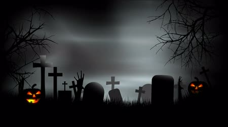 gravestone : Halloween Graveyard Background Loop Stock Footage