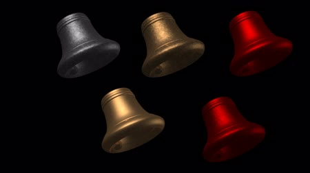render : Swinging Christmas Bells: Large bells slowly swing back and forth with an alpha cutout at the end for easy compositing.