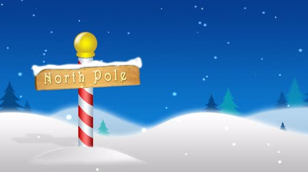 Christmas  Winter scene with cartoon north pole and animated snow