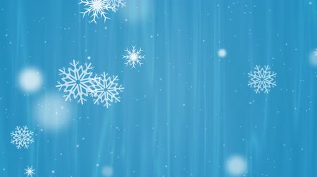 Winter Snow on Blue Background