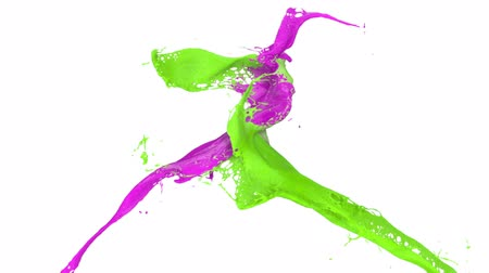 két : splashing purple and green paint in slow motion (FULL HD)