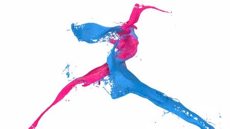 boyalar : splashing pink and blue paint in slow motion (FULL HD) Stok Video