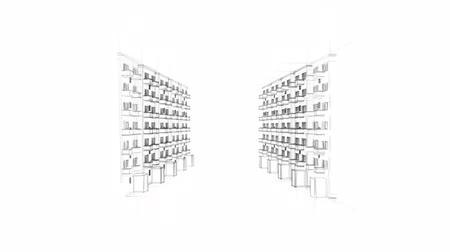 vonalvezetés : Animated Drawing Of Apartment Houses
