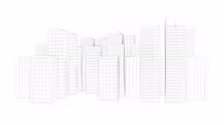 vonalvezetés : Drawing Of Modern City With Skyscrapers