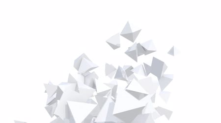 geometric : Seamless Background Of White Pyramids In Abstract Motion Stock Footage