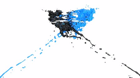 malarstwo : Black And Blue Paint Splashes Collide In Slow Motion