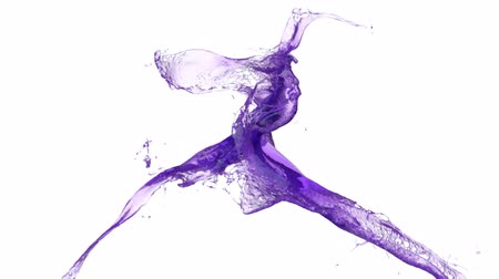 fluido : Purple Paint Splashes Collide In Slow Motion Vídeos