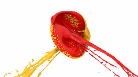 gotas : Red And Yellow Paint Splashes Collide In Slow Motion