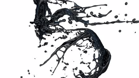 fluido : Black Paint Splashes Collide In Slow Motion