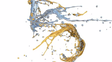 srebro : Gold And Silver Paint Splashes Collide In Slow Motion