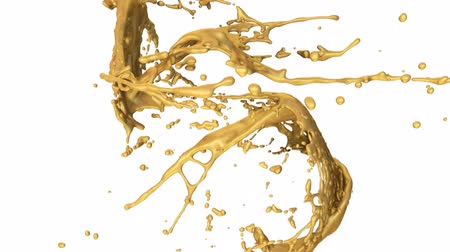 złoto : Gold Paint Splashes Collide In Slow Motion Wideo