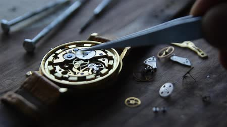 extreme close up : Mechanical watch repair