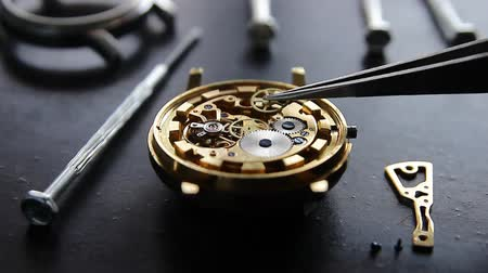 schroef : Watchmaker is repairing the mechanical watches in his workshop Stockvideo