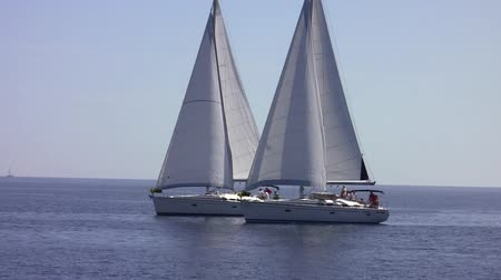 saronic : two sailing yacht at sea Stock Footage