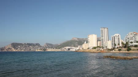 bulutluluk : view from the sea on the calpe, spain. Stok Video