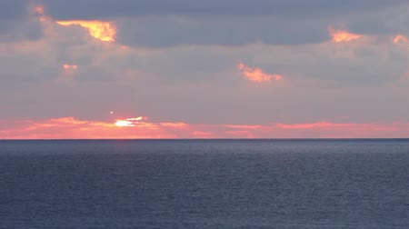 Dawn in the Mediterranean Sea. The sunrise from behind the horizon