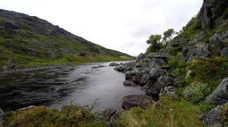 fly fishing : polar river with clean water in the mountains, Kola Peninsula, Russia.