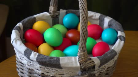 ortodoxia : Basket with multi-colored Easter eggs Stock Footage