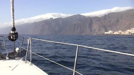 sail rock : Cliffs of Los Gigantes on the island of Tenerife on the Canary Islands. Stock Footage
