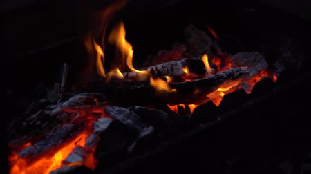 원시적 인 : red flickering coals and a fiery flame