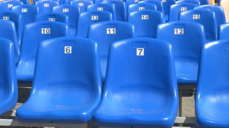 cadeira : blue stadium chairs Stock Footage